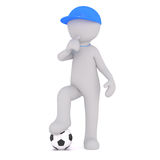 Cartoon Soccer Coach in Blue Cap Blowing Whistle Royalty Free Stock Photos