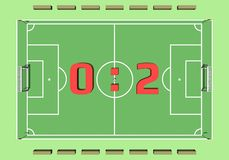 Cartoon soccer field from top view 3d rendering Royalty Free Stock Photos