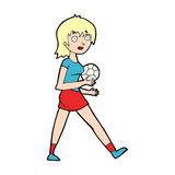 cartoon soccer girl Stock Photo