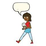 Cartoon soccer girl with speech bubble Stock Image