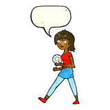 Cartoon soccer girl with speech bubble Stock Photography