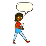 Cartoon soccer girl with speech bubble Stock Images