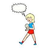 Cartoon soccer girl with speech bubble Royalty Free Stock Photos