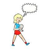 Cartoon soccer girl with speech bubble Stock Photo