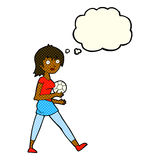 Cartoon soccer girl with thought bubble Stock Images