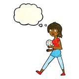 Cartoon soccer girl with thought bubble Royalty Free Stock Photography