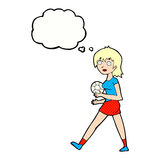 Cartoon soccer girl with thought bubble Royalty Free Stock Photos