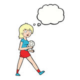 Cartoon soccer girl with thought bubble Royalty Free Stock Images