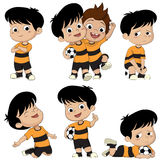 Cartoon soccer kid with different pose. Royalty Free Stock Images