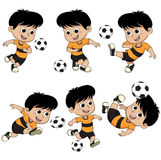 Cartoon soccer kid with different pose. Stock Photos