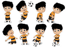 Cartoon soccer kid with different pose. Vector and illustration Stock Image