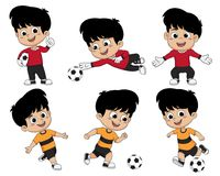 Cartoon soccer kid play football sports he love deeply with diff. Erent pose,including a goalkeeper.Vector and illustration Royalty Free Stock Image