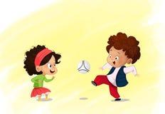 Cartoon soccer kids play soccer vector illustration