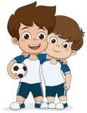 Cartoon soccer kids.Two friendly kid. Royalty Free Stock Image