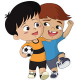 Cartoon soccer kids.Vector and illustration. Cartoon soccer kids.Two friendly kid walking together after the match finished.Vector and illustration Royalty Free Stock Photos