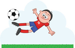 Cartoon Soccer Player Flying to Kick Royalty Free Stock Photography