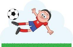 Cartoon Soccer Player Flying to Kick. Cartoon soccer player flying through the air to kick the ball Royalty Free Stock Photography