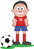 Cartoon Soccer Player Happy and Smiling Royalty Free Stock Photography