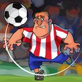 Cartoon soccer player hits the ball while on the field. Cartoon footballer in blue shorts and white striped red t-shirt has a ball on the field Royalty Free Stock Image