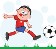 Cartoon Soccer Player Leaping and Kicking Stock Photography
