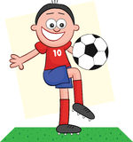 Cartoon Soccer Player Playing. Cartoon of soccer player playing with the ball Royalty Free Stock Image