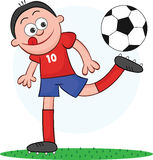 Cartoon Soccer Player Playing. Cartoon of soccer player playing with the ball Royalty Free Stock Photography
