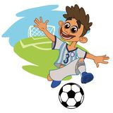 Joyful boy playing football stock illustration