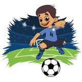 Cheerful boy in sportswear plays football vector illustration