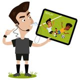 Cartoon soccer referee blowing whistle pointing to his headset holding display and reviewing replay of foul. Isolated on white background Stock Image