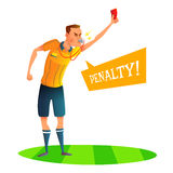 Cartoon soccer referee character design. Judge showing red card. Vector illustratio.  Stock Photos