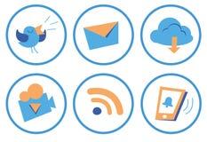 Cartoon social icons. Set of beautiful vector cartoon social icons in orange-blue Stock Image