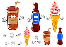 Cartoon soda bottle, cup and ice cream Stock Photo
