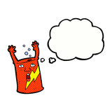 cartoon soda can character with thought bubble Royalty Free Stock Image