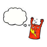 cartoon soda can character with thought bubble Royalty Free Stock Images