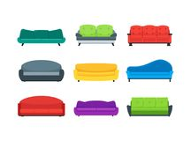 Cartoon Sofa or Couch Color Icons Set. Vector. Cartoon Sofa or Couch Color Icons Set Flat Style Design for Interior of Home or Office Furniture for Relaxation Stock Images