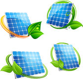 Cartoon solar panel with leafy frames Royalty Free Stock Photos