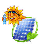 Cartoon solar panel with sun Royalty Free Stock Photo