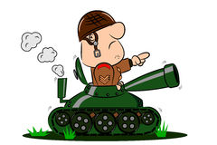 Cartoon Soldier in Army Tank. A cartoon army soldier in the turret of a tank Royalty Free Stock Photos