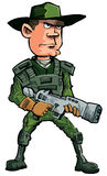 Cartoon soldier with a automatic rifle Stock Photo