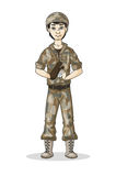 Cartoon soldier in camouflage Stock Photography