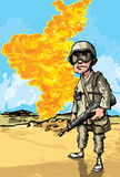Cartoon Soldier in desert conflict Royalty Free Stock Photography