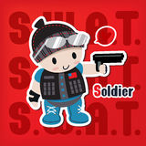 Cartoon soldier with a gun sticker. Style Stock Photography