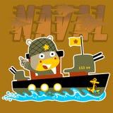 Cartoon soldier on gunboat vector image. Hippo the navy army. Vector cartoon illustration, no mesh, vector on eps 10 Stock Photo