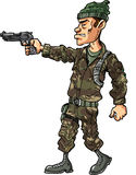 Cartoon soldier with a handgun illustration Stock Images