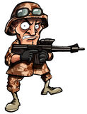 Cartoon soldier isolated on white Stock Image