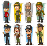 Cartoon soldier policeman agent and pilot character vector set. Cartoon army soldier policeman secret agent and pilot character vector set Stock Photos