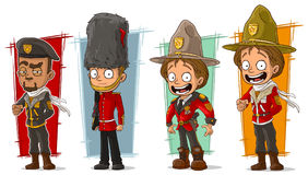 Cartoon soldier and rangers character vector set royalty free illustration