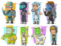 Cartoon soldier scientist with mask character set Royalty Free Stock Photo