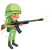Cartoon soldier shooting Stock Image