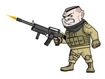 Cartoon soldier shooting his gun. Illustration of a cartoon soldier shooting his gun Stock Images